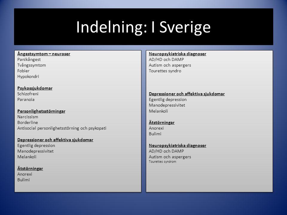 Indelning: I Sverige Ångestsymtom – neuroser Panikångest Tvångssymtom Fobier Hypokondri Psykossjukdomar Schizofreni Paranoia Personlighetsstörningar N