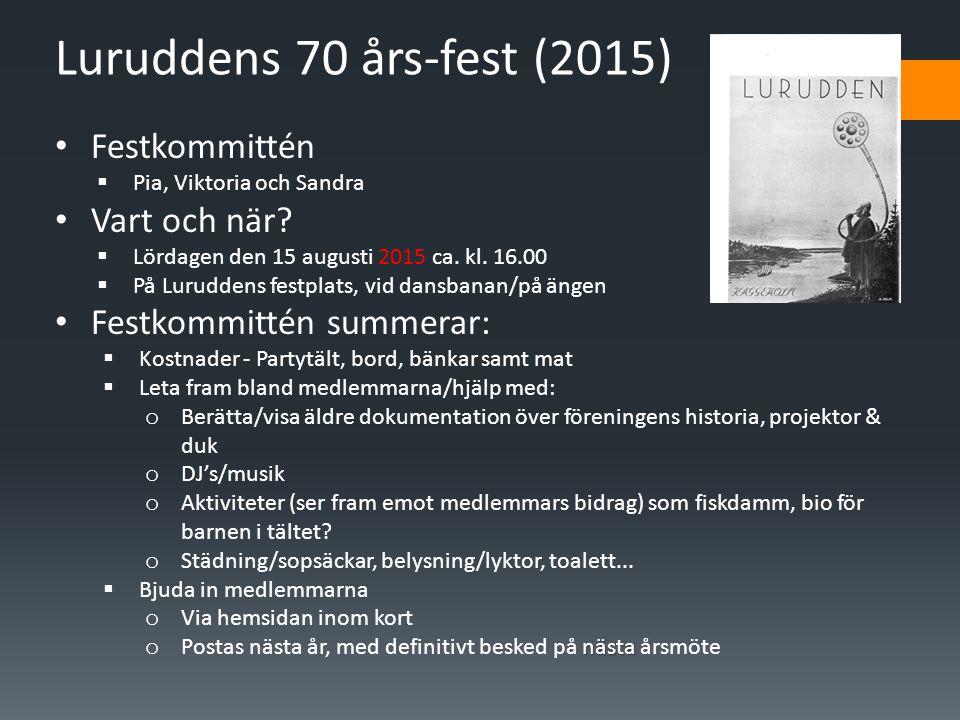 Luruddens 70 års-fest (2015) • Festkommittén  Pia, Viktoria och Sandra • Vart och när.