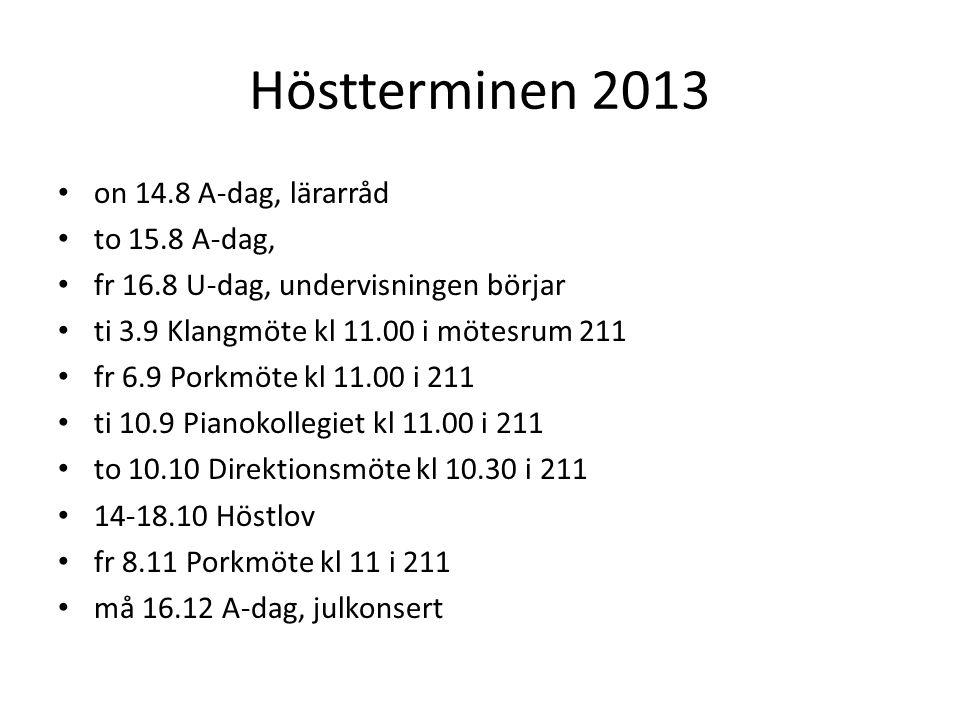 Vårterminen 2014 • 27.12.13-10.2.14 TaDaM i Gyllenbergsalen (föreställningar 16.19.2) • ti 7.1 U-dag, lärarråd (plats meddelas senare), undervisningen börjar • ti 21.1 Klangmöte kl 11 i 211 • fr 28.2 Porkmöte kl 11 i 211 • to 13.3 Direktionsmöte kl 10.30 i 211 • to 13.3 Barnkonsert med filmmusik kl 19, fr 14.3 kl 10 och kl 12 • lö 5.4 Öppet hus • on 21.5 Vårkonsert