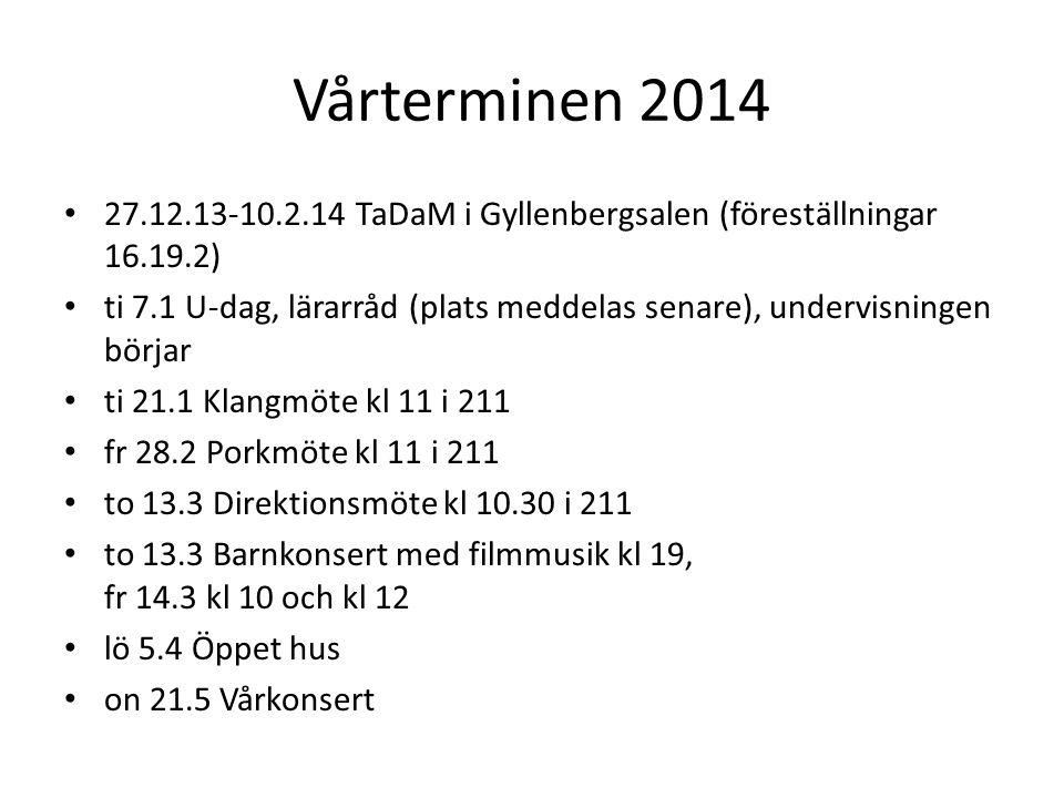 Musik- och kulturskolan SandelsA = övrigt arbete Läsåret 2013- 2014 arbetsordning och lediga dagarU = undervisning version 14.8.2013L = ledig dag UV = undervisningsvecka AV = övrigt arbete -vecka VeckabörjarslutarMÅTIONTOFRLÖSÖVInträde Anm LärarrådKlangPorkDirektion Vecka 3312.8.201318.8.2013 LLAAULLAV onsdag 10-12;13- 15 33 3419.8.201325.8.2013 UUUUULLUV 34 3526.8.20131.9.2013UUUUULL UV 35 362.9.20138.9.2013UUUUULL UV ti 3.9.2013 kl 11.00 fre 6.9.2013 kl 11.00 36 379.9.201315.9.2013UUUUULL UV pianokoll.