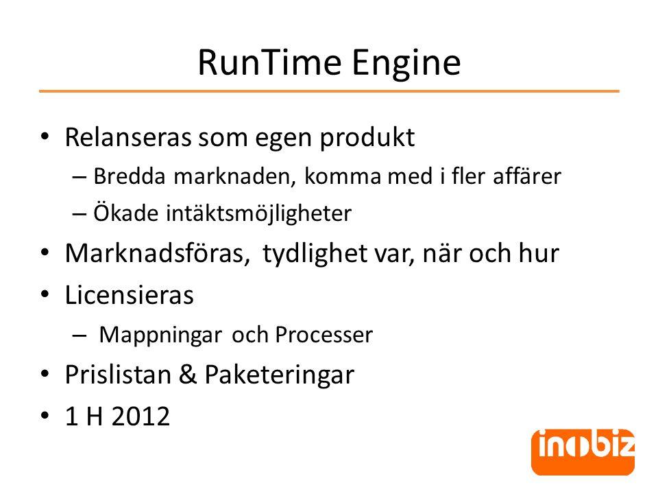 RunTime Engine • Relanseras som egen produkt – Bredda marknaden, komma med i fler affärer – Ökade intäktsmöjligheter • Marknadsföras, tydlighet var, när och hur • Licensieras – Mappningar och Processer • Prislistan & Paketeringar • 1 H 2012