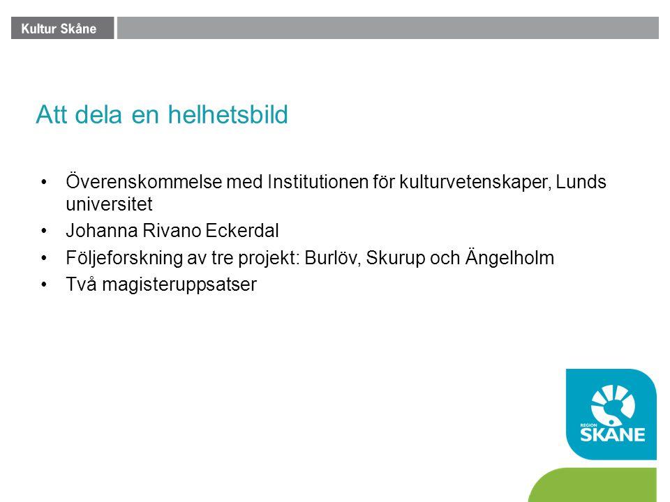 Att dela en helhetsbild •Överenskommelse med Institutionen för kulturvetenskaper, Lunds universitet •Johanna Rivano Eckerdal •Följeforskning av tre pr