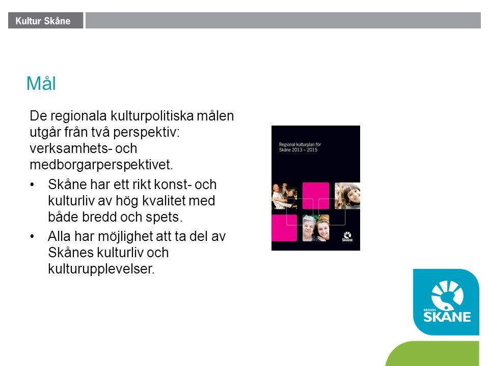 Mål De regionala kulturpolitiska målen utgår från två perspektiv: verksamhets- och medborgarperspektivet. •Skåne har ett rikt konst- och kulturliv av