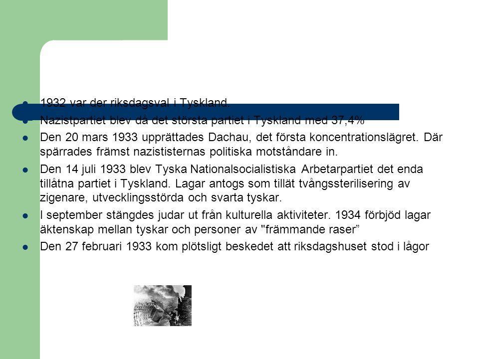  1932 var der riksdagsval i Tyskland.  Nazistpartiet blev då det största partiet i Tyskland med 37,4%  Den 20 mars 1933 upprättades Dachau, det för