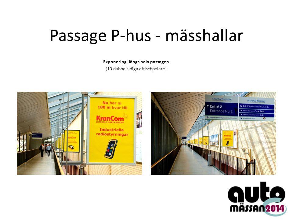 Passage P-hus - mässhallar Exponering längs hela passagen (10 dubbelsidiga affischpelare)