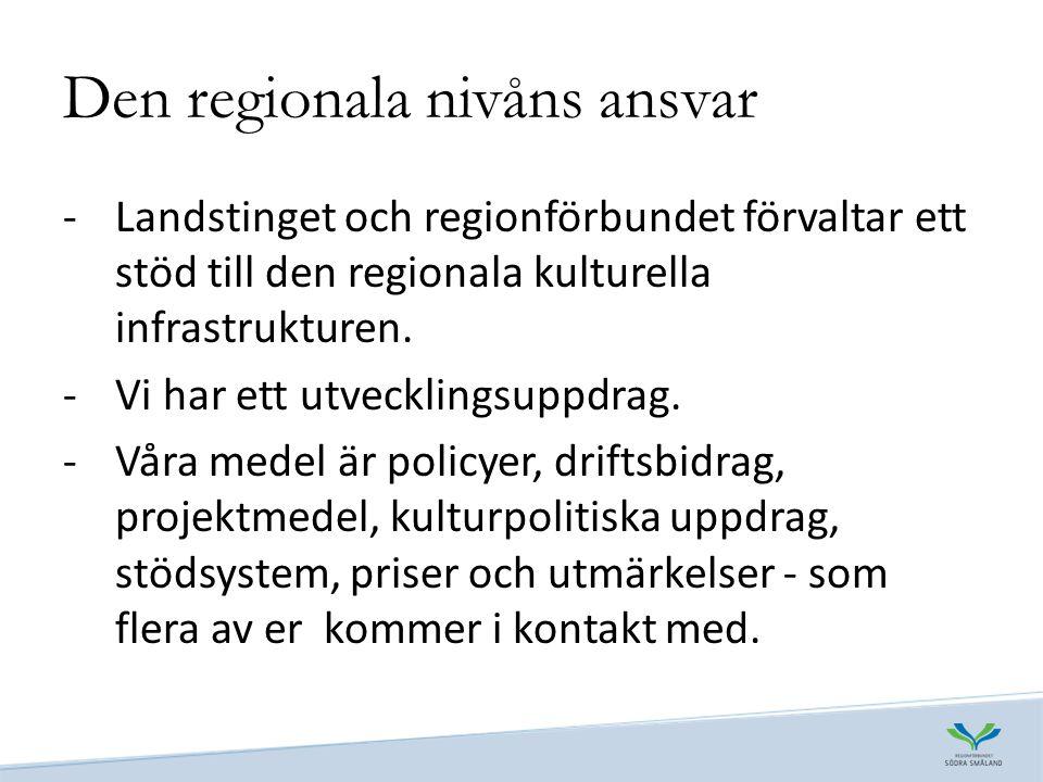 Den regionala nivåns ansvar -Landstinget och regionförbundet förvaltar ett stöd till den regionala kulturella infrastrukturen.