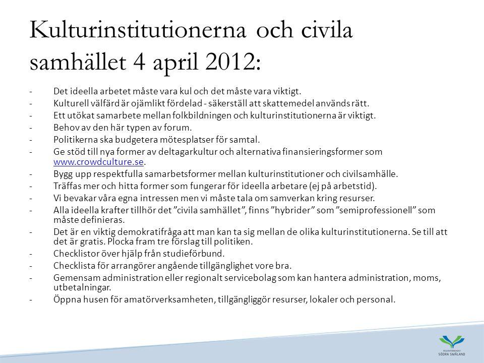 Kulturinstitutionerna och civila samhället 4 april 2012: -Det ideella arbetet måste vara kul och det måste vara viktigt.