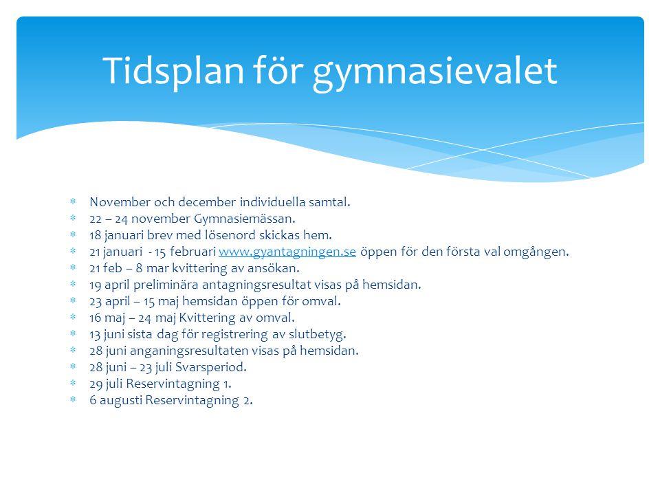  November och december individuella samtal.  22 – 24 november Gymnasiemässan.