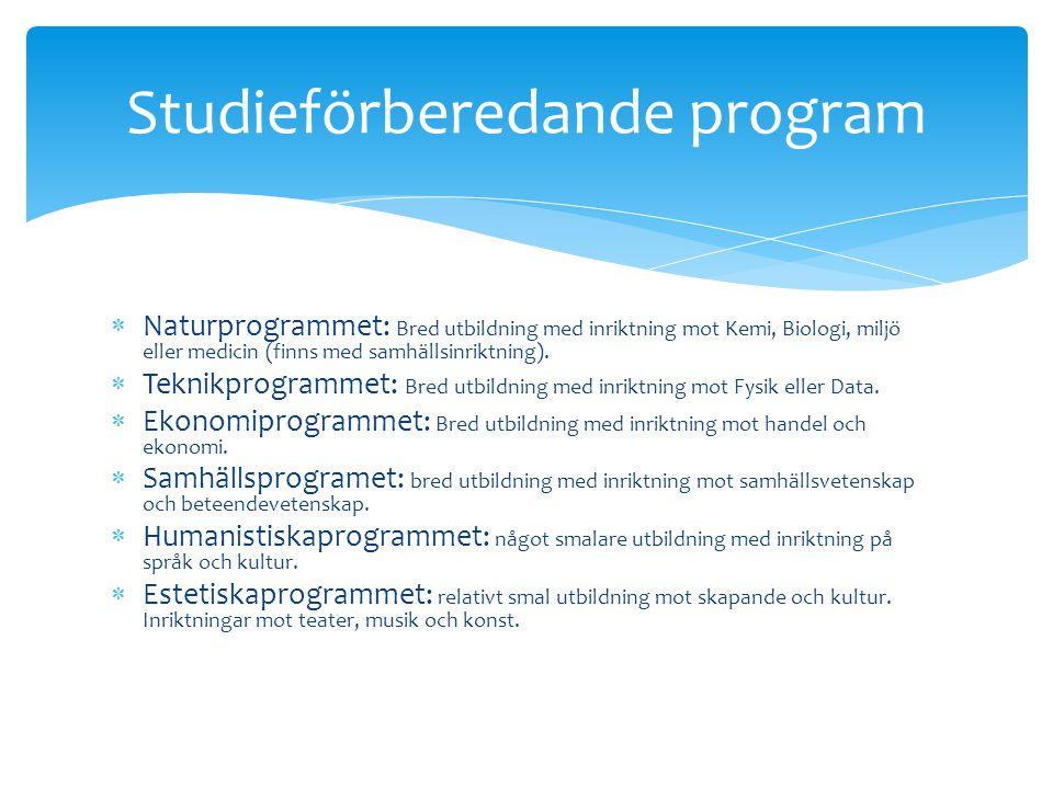  Naturprogrammet: Bred utbildning med inriktning mot Kemi, Biologi, miljö eller medicin (finns med samhällsinriktning).  Teknikprogrammet: Bred utbi