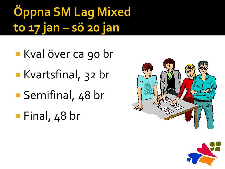  Kval över ca 90 br  Kvartsfinal, 32 br  Semifinal, 48 br  Final, 48 br
