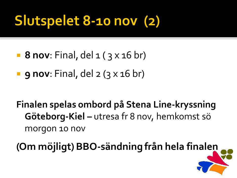  8 nov: Final, del 1 ( 3 x 16 br)  9 nov: Final, del 2 (3 x 16 br) Finalen spelas ombord på Stena Line-kryssning Göteborg-Kiel – utresa fr 8 nov, he
