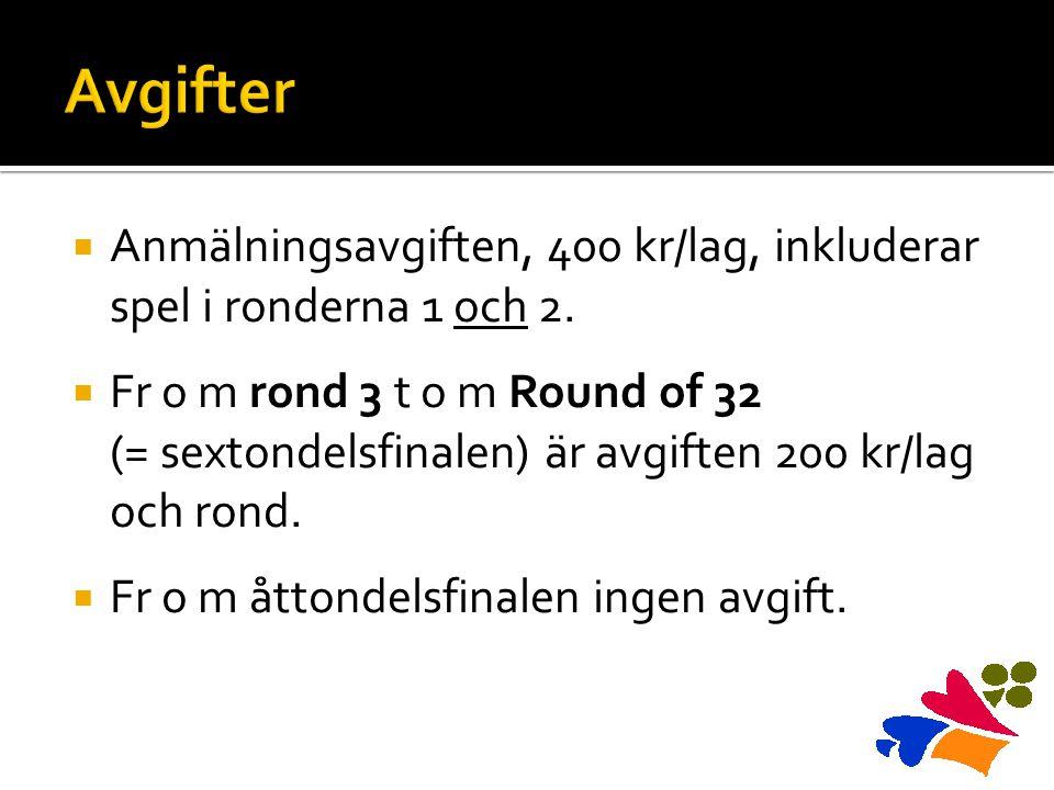  Anmälningsavgiften, 400 kr/lag, inkluderar spel i ronderna 1 och 2.  Fr o m rond 3 t o m Round of 32 (= sextondelsfinalen) är avgiften 200 kr/lag o