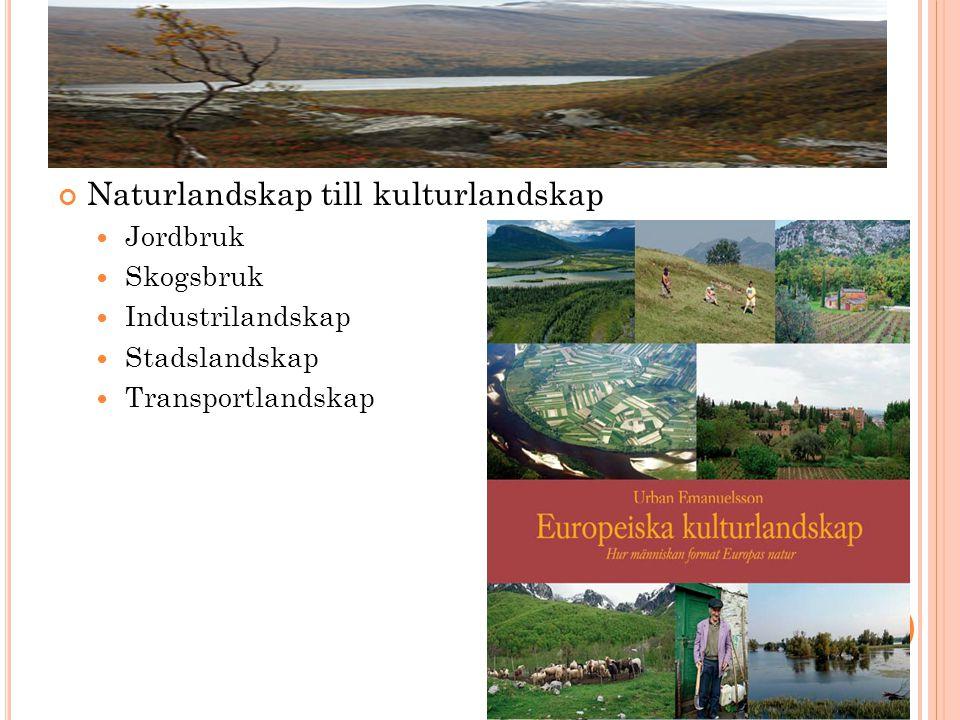 Naturlandskap till kulturlandskap  Jordbruk  Skogsbruk  Industrilandskap  Stadslandskap  Transportlandskap