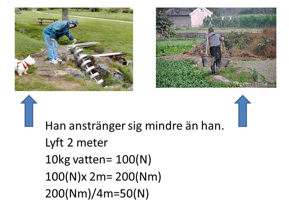 Han anstränger sig mindre än han. Lyft 2 meter 10kg vatten= 100(N) 100(N)x 2m= 200(Nm) 200(Nm)/4m=50(N)