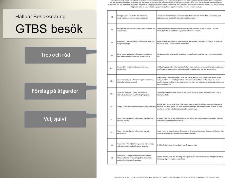 Tips och råd Förslag på åtgärder Välj själv! Hållbar Besöksnäring GTBS besök