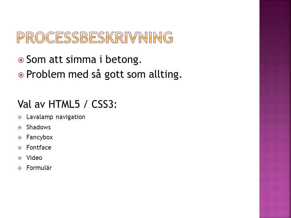  Som att simma i betong.  Problem med så gott som allting. Val av HTML5 / CSS3:  Lavalamp navigation  Shadows  Fancybox  Fontface  Video  Form