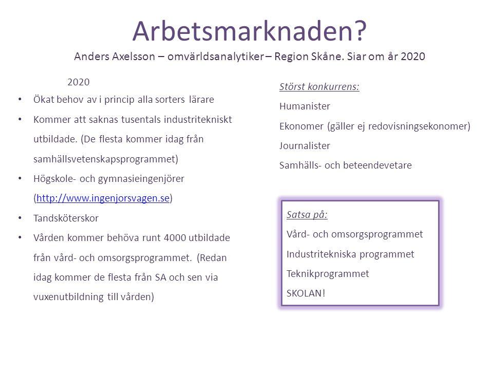 Arbetsmarknaden? Anders Axelsson – omvärldsanalytiker – Region Skåne. Siar om år 2020 2020 • Ökat behov av i princip alla sorters lärare • Kommer att