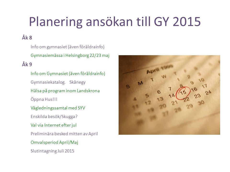 Planering ansökan till GY 2015 Åk 8 Info om gymnasiet (även föräldrainfo) Gymnasiemässa i Helsingborg 22/23 maj Åk 9 Info om Gymnasiet (även föräldrai