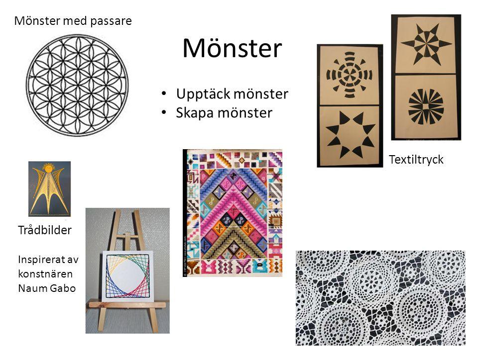 Mönster Trådbilder Inspirerat av konstnären Naum Gabo Textiltryck • Upptäck mönster • Skapa mönster Mönster med passare 16