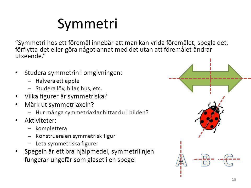 """Symmetri """"Symmetri hos ett föremål innebär att man kan vrida föremålet, spegla det, förflytta det eller göra något annat med det utan att föremålet än"""