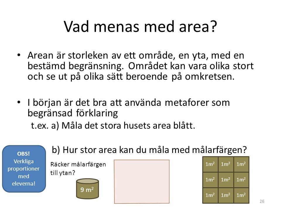 Vad menas med area? • Arean är storleken av ett område, en yta, med en bestämd begränsning. Området kan vara olika stort och se ut på olika sätt beroe