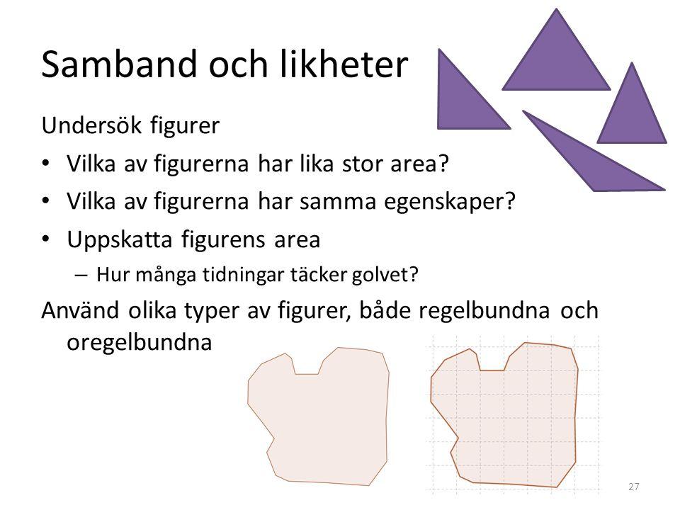 Samband och likheter Undersök figurer • Vilka av figurerna har lika stor area? • Vilka av figurerna har samma egenskaper? • Uppskatta figurens area –