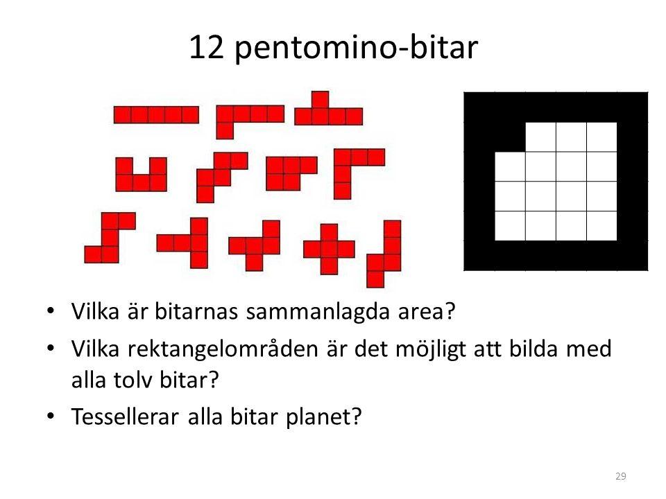 12 pentomino-bitar • Vilka är bitarnas sammanlagda area? • Vilka rektangelområden är det möjligt att bilda med alla tolv bitar? • Tessellerar alla bit