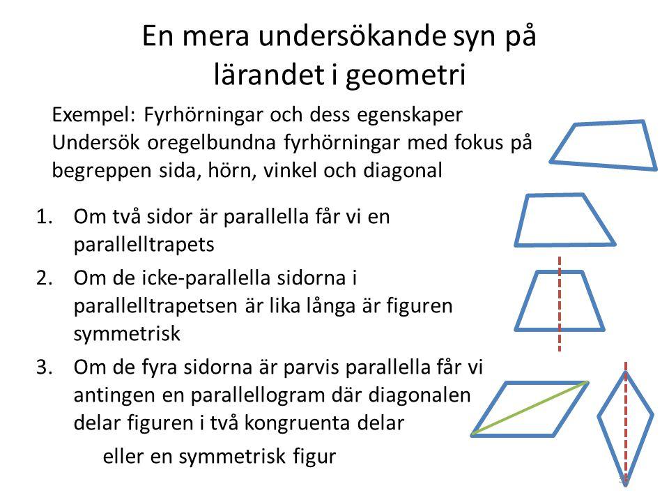 En mera undersökande syn på lärandet i geometri 1.Om två sidor är parallella får vi en parallelltrapets 2.Om de icke-parallella sidorna i parallelltra
