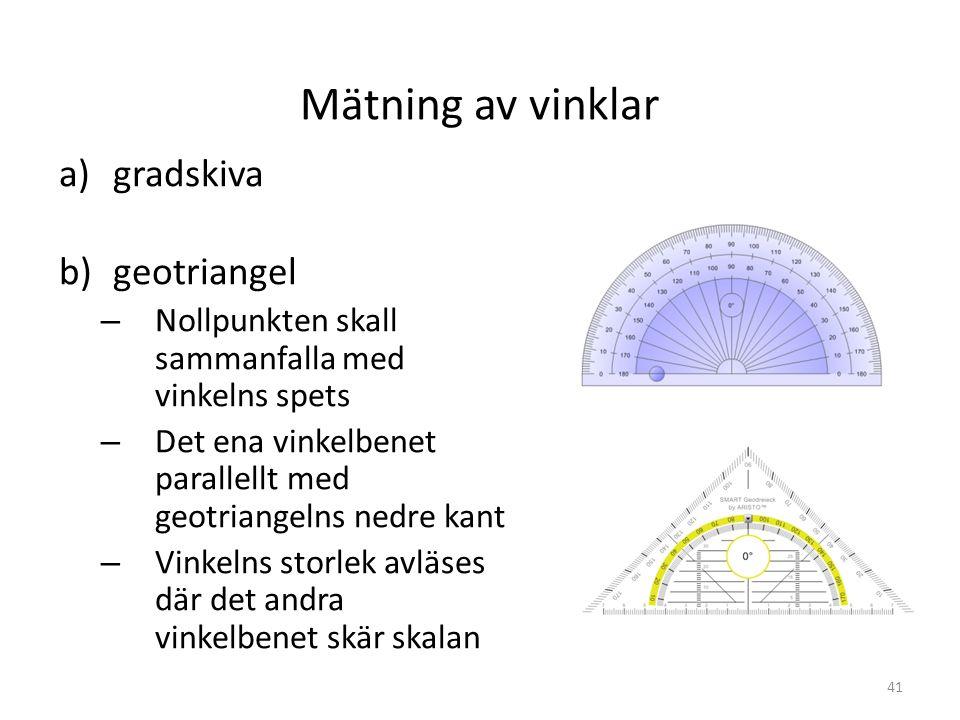 Mätning av vinklar a)gradskiva b)geotriangel – Nollpunkten skall sammanfalla med vinkelns spets – Det ena vinkelbenet parallellt med geotriangelns ned