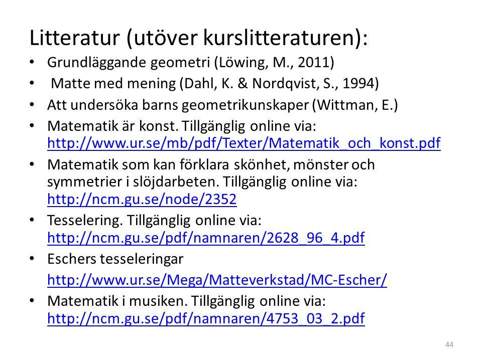 Litteratur (utöver kurslitteraturen): • Grundläggande geometri (Löwing, M., 2011) • Matte med mening (Dahl, K. & Nordqvist, S., 1994) • Att undersöka