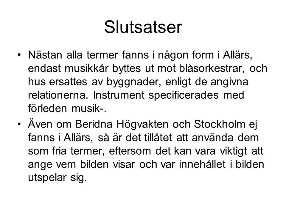 Slutsatser •Nästan alla termer fanns i någon form i Allärs, endast musikkår byttes ut mot blåsorkestrar, och hus ersattes av byggnader, enligt de angi
