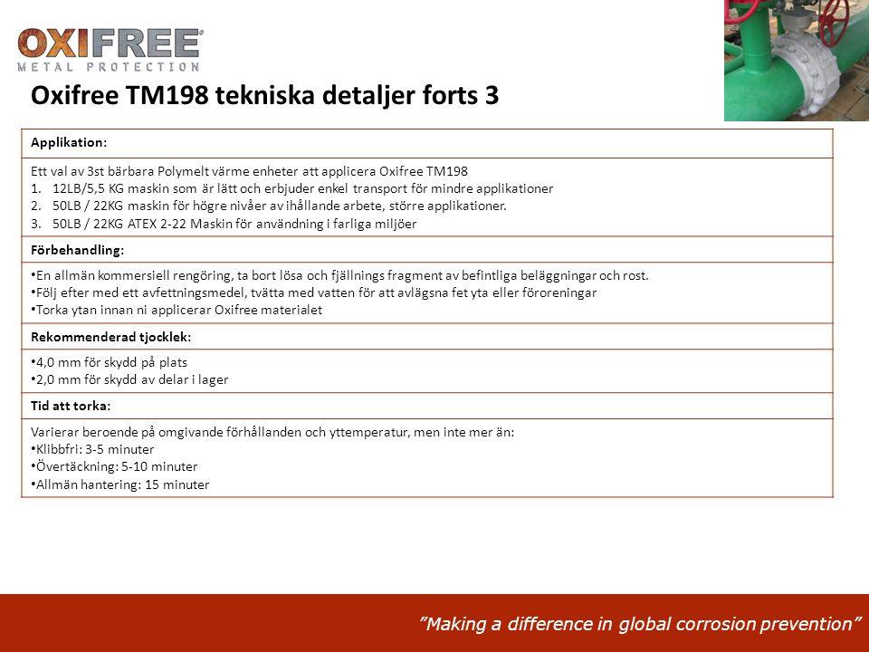 """""""Making a difference in global corrosion prevention"""" Applikation: Ett val av 3st bärbara Polymelt värme enheter att applicera Oxifree TM198 1.12LB/5,5"""