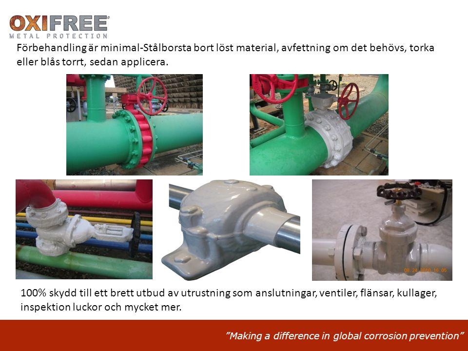 """""""Making a difference in global corrosion prevention"""" Förbehandling är minimal-Stålborsta bort löst material, avfettning om det behövs, torka eller blå"""