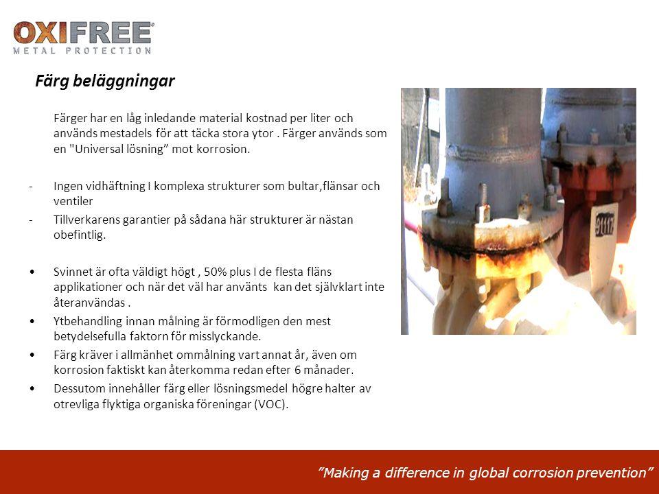 """""""Making a difference in global corrosion prevention"""" Färg beläggningar Färger har en låg inledande material kostnad per liter och används mestadels fö"""