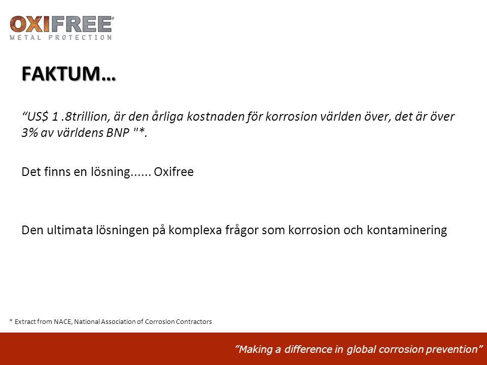 """""""Making a difference in global corrosion prevention"""" FAKTUM… """"US$ 1.8trillion, är den årliga kostnaden för korrosion världen över, det är över 3% av v"""