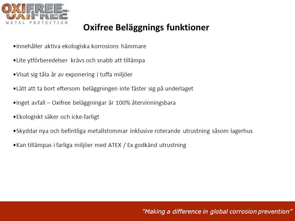 """""""Making a difference in global corrosion prevention"""" Oxifree Beläggnings funktioner •Innehåller aktiva ekologiska korrosions hämmare •Lite ytförberede"""
