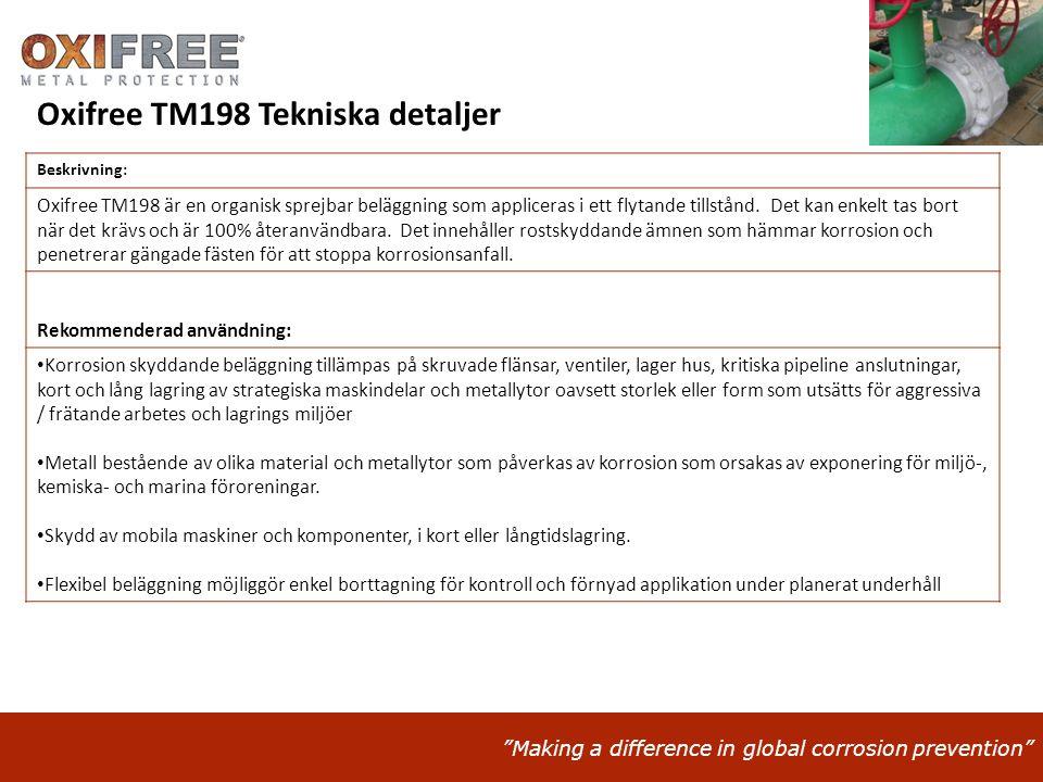 """""""Making a difference in global corrosion prevention"""" Beskrivning: Oxifree TM198 är en organisk sprejbar beläggning som appliceras i ett flytande tills"""