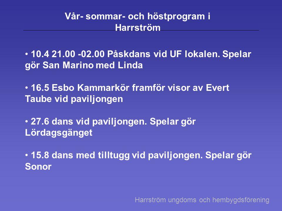 Vår- sommar- och höstprogram i Harrström • 10.4 21.00 -02.00 Påskdans vid UF lokalen. Spelar gör San Marino med Linda • 16.5 Esbo Kammarkör framför vi