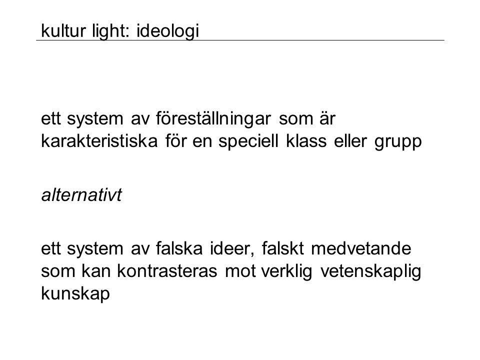 kultur light: ideologi ett system av föreställningar som är karakteristiska för en speciell klass eller grupp alternativt ett system av falska ideer, falskt medvetande som kan kontrasteras mot verklig vetenskaplig kunskap