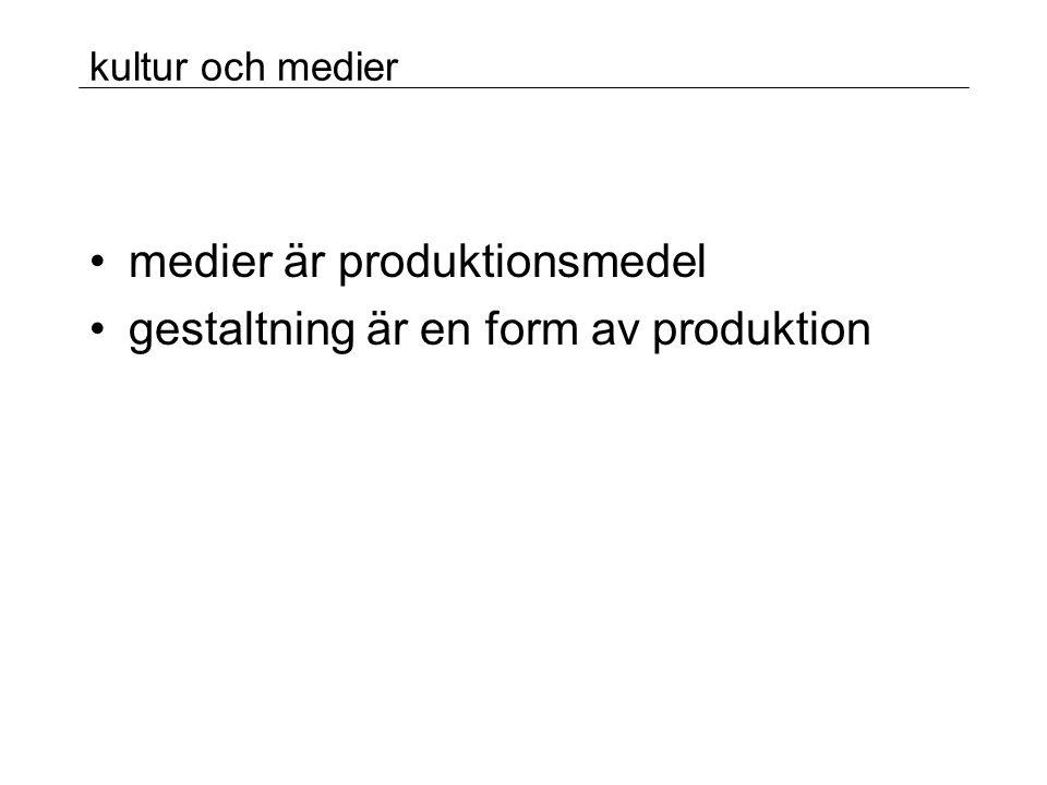 kultur och medier •medier är produktionsmedel •gestaltning är en form av produktion