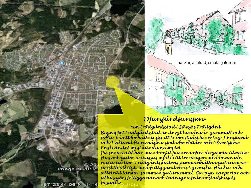 Djurgårdsängen- - en trädgårdsstad i Sävsjös Trädgård Begreppet trädgårdsstad är drygt hundra år gammalt och syftar på ett förhållningssätt inom stads