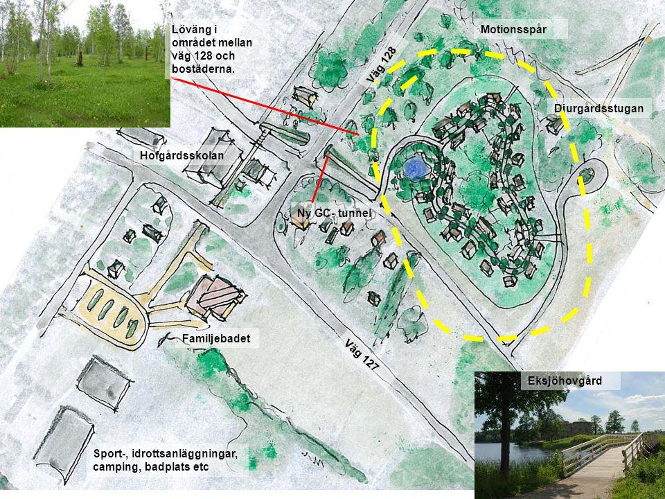 Sport-, idrottsanläggningar, camping, badplats etc Väg 127 Ny GC- tunnel Hofgårdsskolan Familjebadet Väg 128 Djurgårdsstugan Motionsspår Eksjöhovgård