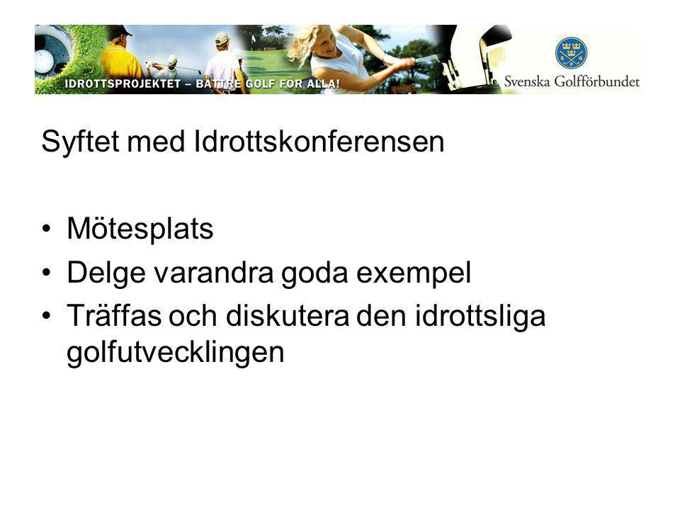 Syftet med Idrottskonferensen •Mötesplats •Delge varandra goda exempel •Träffas och diskutera den idrottsliga golfutvecklingen
