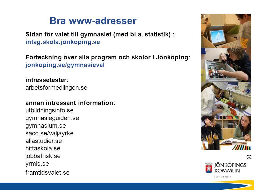 © Bra www-adresser Sidan för valet till gymnasiet (med bl.a.