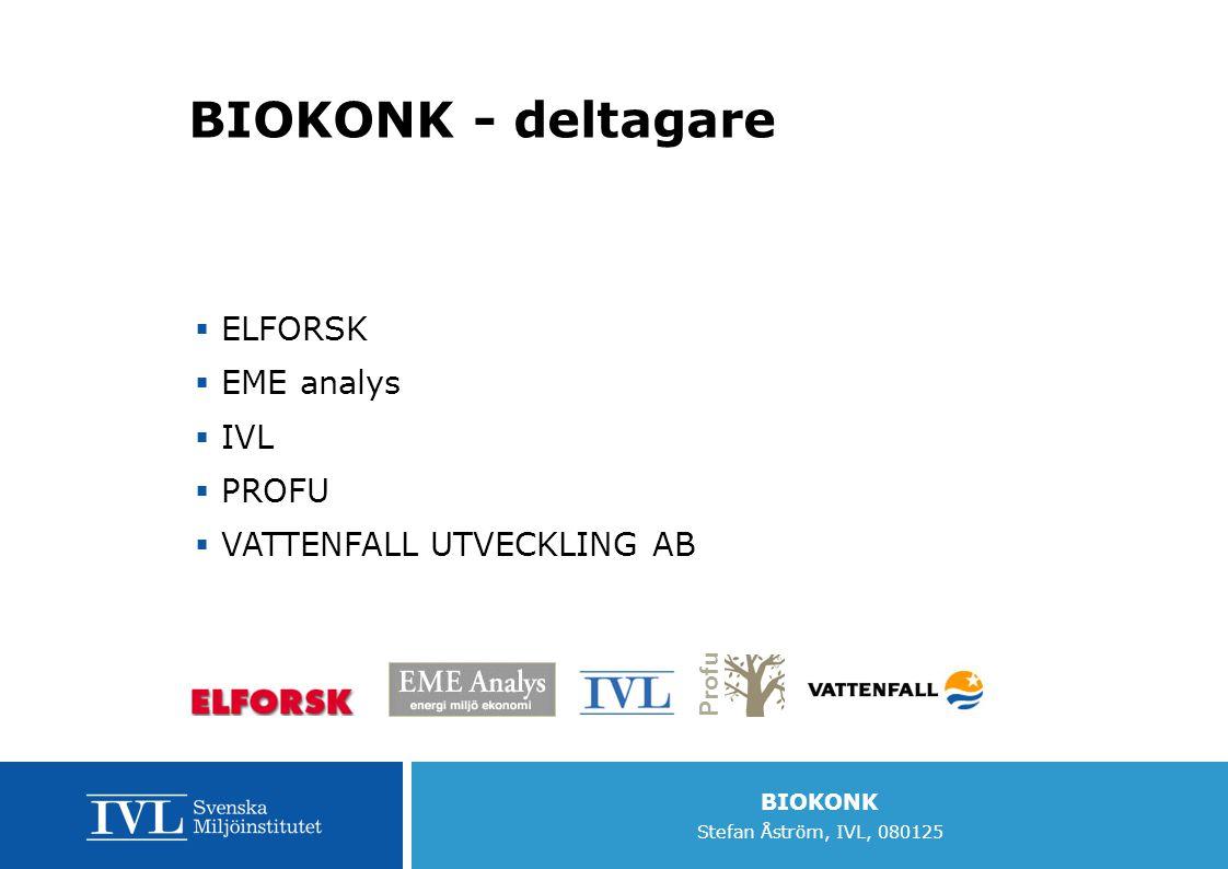 BIOKONK Stefan Åström, IVL, 080125 BIOKONK - deltagare  ELFORSK  EME analys  IVL  PROFU  VATTENFALL UTVECKLING AB Profu