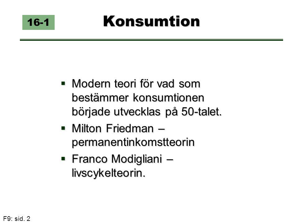 F9: sid. 2 Konsumtion 16-1  Modern teori för vad som bestämmer konsumtionen började utvecklas på 50-talet.  Milton Friedman – permanentinkomstteorin