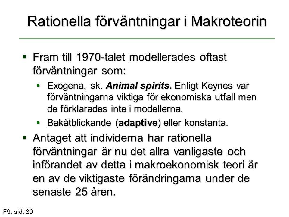 F9: sid. 30 Rationella förväntningar i Makroteorin  Fram till 1970-talet modellerades oftast förväntningar som:  Exogena, sk. Animal spirits. Enligt