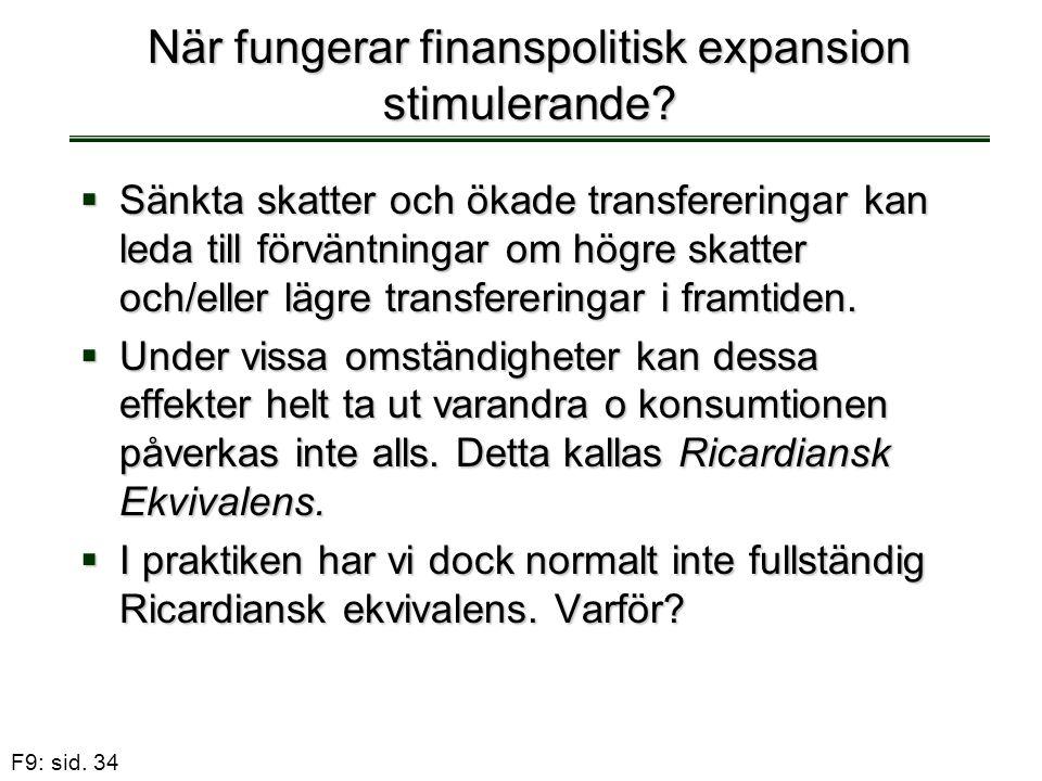 F9: sid. 34 När fungerar finanspolitisk expansion stimulerande?  Sänkta skatter och ökade transfereringar kan leda till förväntningar om högre skatte