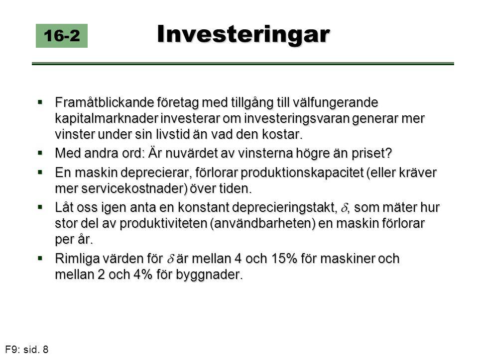 F9: sid. 8 Investeringar 16-2  Framåtblickande företag med tillgång till välfungerande kapitalmarknader investerar om investeringsvaran generar mer v
