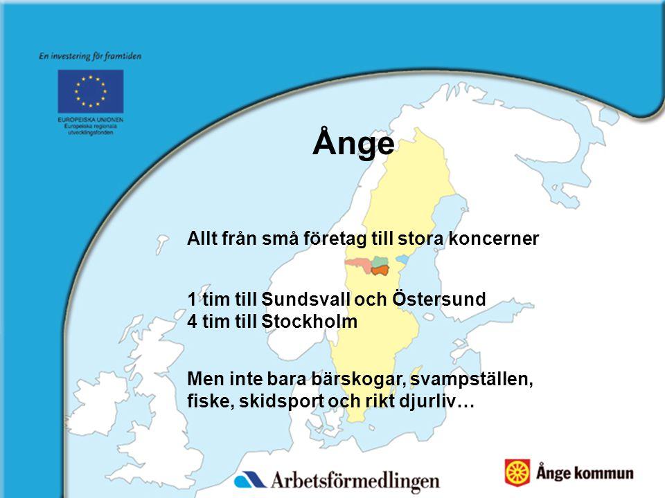 1 tim till Sundsvall och Östersund 4 tim till Stockholm Allt från små företag till stora koncerner Men inte bara bärskogar, svampställen, fiske, skidsport och rikt djurliv…